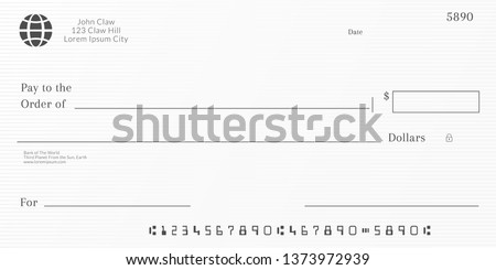 Bank check template. Checkbook page background with empty fields.