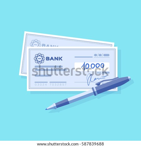 Bank check with signature and pen. Blue background.  Vector, illustration, flat.