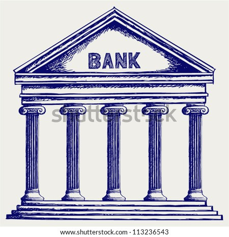 Bank. Colonnade. Doodle style