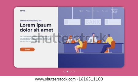Bank consultants talking to clients. Customers consulting credit managers in department flat vector illustration. Finance, loan, deposit concept for banner, website design or landing web page
