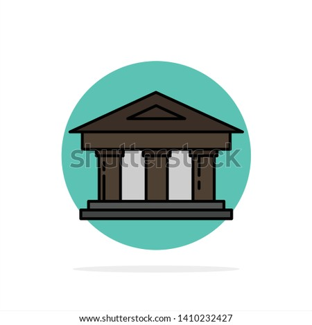 Bank, Courthouse, Finance, Finance, Building Abstract Circle Background Flat color Icon