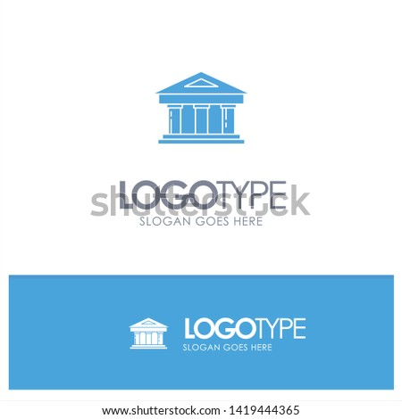 Bank, Courthouse, Finance, Finance, Building Blue Solid Logo with place for tagline