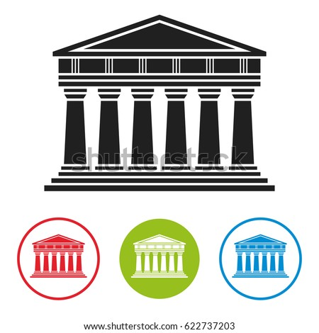Bank, courthouse, parthenon architecture greek temple icon isolated on white background. Vector illustration flat architecture design. Building ancient monument symbol icon. Column pillar landmark