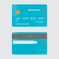 Bank credit card design with oriental ornament on a blue background.