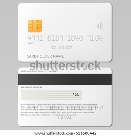 Bank, credit card front and back view mockup