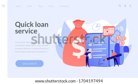 Bank credit. Finance management. Loan agreement signing. Mortgage money credit. Loan disbursement, quick loan service, easy credit program concept. Website homepage landing web page template.