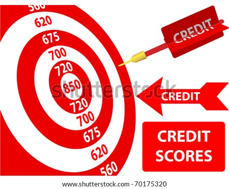 Bank credit report score card target dart arrow design elements