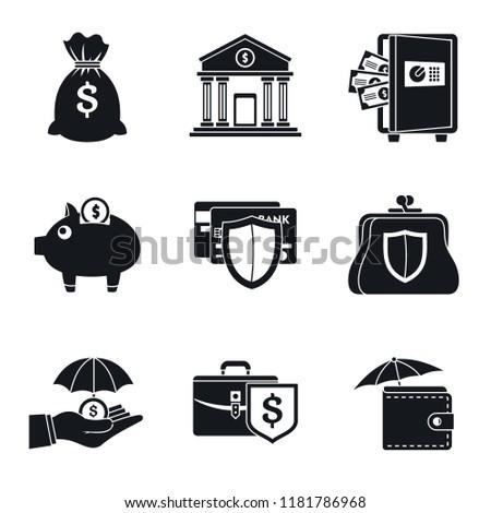 bank deposit icon set simple