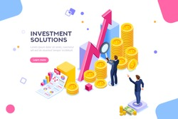 Bank development economics strategy. Commerce solutions for investments, analysis concept. Analysis of sales, statistic grow data, accounting infographic. Economic deposits flat isometric illustration