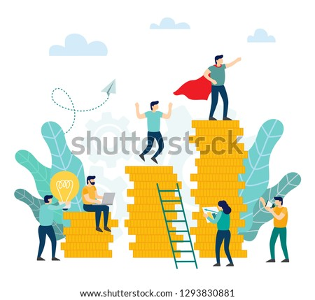 Bank development economics strategy, inancial investments in income growth. Career growth. Vector illustration