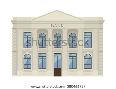 Bank finance building illustration icon isolated on the white background. Banking finance building.