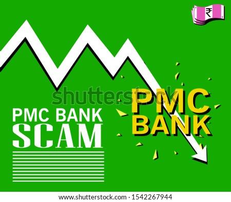 Bank fraud scam vector graphics indian pmc bank india Punjab & Maharashtra Co-operative bank corrupt banking going down share market debt bad debt loss close shutdown