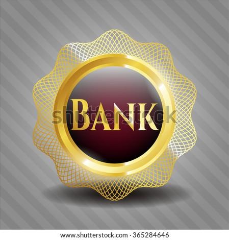 Bank gold shiny badge