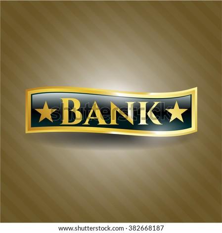 Bank golden badge or emblem