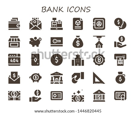 bank icon set. 30 filled bank icons.  Collection Of - Wallet, Money, Cash register, 3d, Safe box, Store, Piggy bank, Card, Money bag, Payment, , Coin, Building, Bitcoin, Atm, Invoice