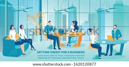 Bank Loan for Business Start, Fast Credits Offer for New Company or Startup Starting Flat Vector Advertising Banner, Promo Poster Template. Bank Credit Expert Interviewing Entrepreneurs Illustration