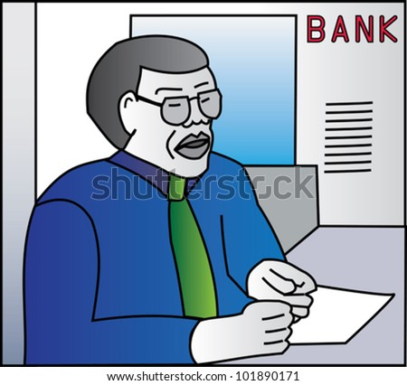 Bank manager at his desk doing paperwork