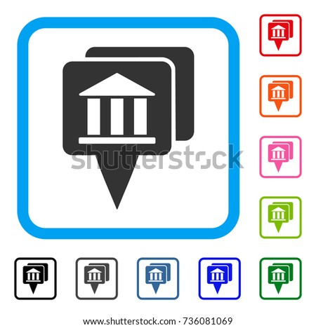 Bank Map Pointers icon. Flat gray iconic symbol inside a light blue rounded rectangular frame. Black, gray, green, blue, red, orange color additional versions of Bank Map Pointers vector.