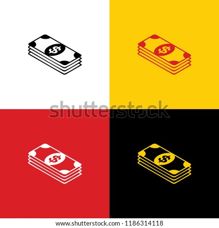 Bank Note dollar sign. Vector. Icons of german flag on corresponding colors as background.