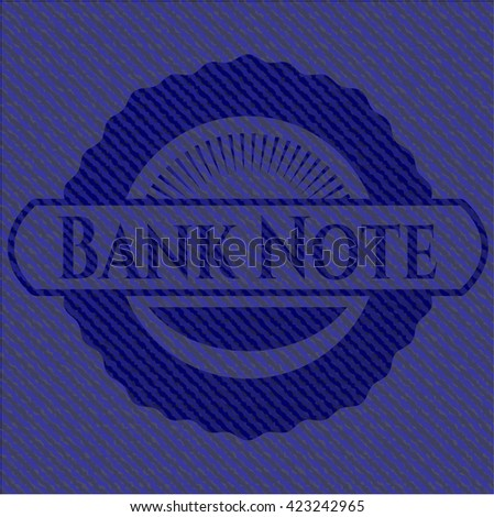 Bank Note emblem with denim high quality background