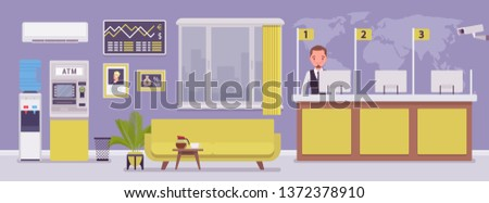 Bank office and male professional manager. Financial center modern corporate interior design, young man working in a banking branch, employee to deal with services and customers. Vector illustration Foto d'archivio ©