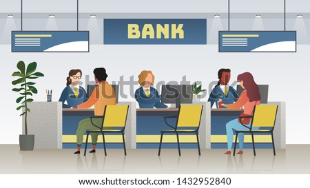 Bank office interior. Professional banking service, finance manager and clients. Credit, deposit consult management and counter serviced indoor payment cashier vector concept Stock foto ©