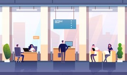 Bank office interior. Professional management banking investment. Empty bank office consulting center business financial vector