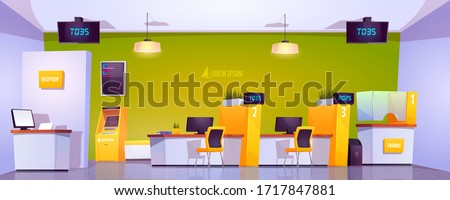 Bank office interior with atm, cash box, staff desk and reception counter. Vector cartoon illustration of empty bank lobby with furniture, queue displays and automated teller machine