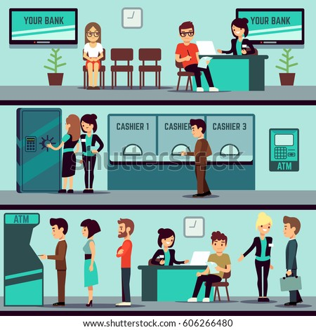 Bank office interior with people, clients and bank clerks vector flat banking concept. Bank office finance with cashier and consulting, bank interior illustration.