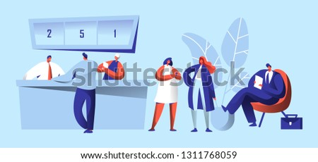 Bank Office Reception Work People. Client Talking to Manager about Deposit or Cash Operation. Bank Worker Providing Service to Customer. Customer Waiting in Queue Flat Cartoon Vector Illustration.
