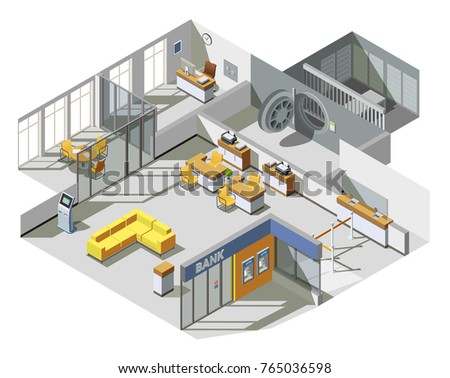 Bank offices space interior isometric view with customer assistants desks cash machine and waiting area vector illustration
