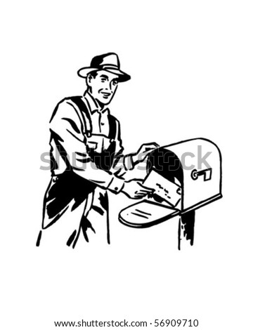 Bank On The Farms - Man Receiving Mail - Retro Clip Art