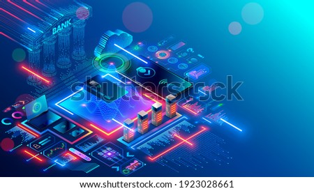 Bank online. Mobile internet digital banking. Contactless pay through banking app on cell phone. Applications with bank financial information for smartphones. Fintech Analytics Isometric concept.