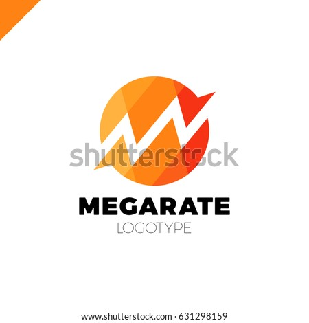 Bank or finance organization letter M or W logo template. Marketing rate simple circle logotype in polygonal style.