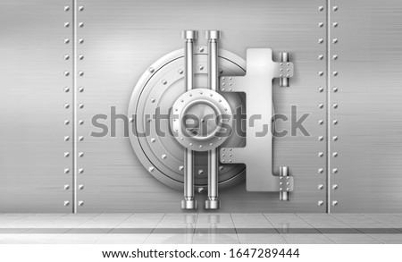 Bank safe and vault door, metal steel round gate mechanism in empty bunker room with tiled floor and durable walls with welds and rivets. Storage for gold and money, Realistic 3d vector illustration Сток-фото ©