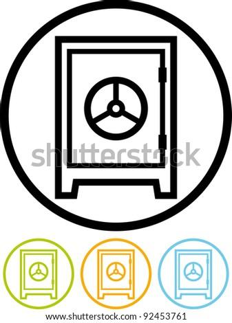 Bank safe deposit box - Vector icon
