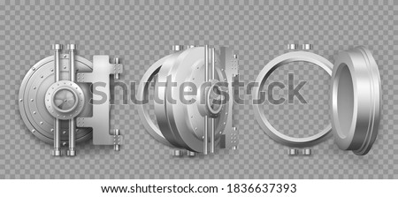 Bank safe vault door opening motion sequence animation. Metal steel round gate close, slightly ajar and open, isolated mechanism with welds and rivets. Gold and money storage, Realistic 3d vector set