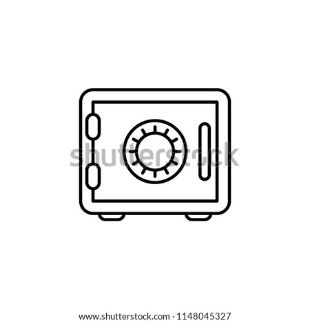 Bank safe vector icon. linear style closed safe isolated. Security single isolated modern vector line design icon safe vault. Bank line icon outline vector sign linear style pictogram. Editable stroke