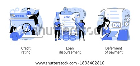 Bank service abstract concept vector illustration set. Credit rating, loan disbursement, deferment of payment, risk evaluation, student loan, payment terms, financial hardship abstract metaphor.