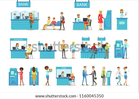 Bank Service Professionals And Clients Different Financial Affairs Consultancy, ATM Cash Manipulation Other Business Set Of Illustrations