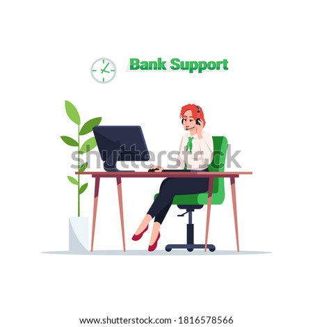 Bank support semi flat RGB color vector illustration. Customer consultation on financial operation. 24 7 advisor help. Bank consultant isolated cartoon character on white background
