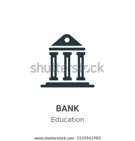 Bank symbol vector icon on white background. Flat vector bank symbol icon symbol sign from modern education collection for mobile concept and web apps design.