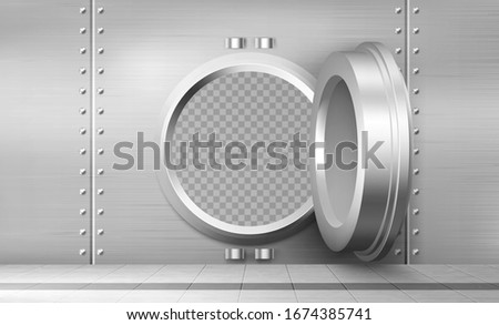 Bank vault with open safe door. Vector realistic interior of room with round steel door and and metal walls for safety storage deposits. Bank safe with dial lock Сток-фото ©