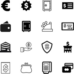 bank vector icon set such as: accounting, technology, equipment, logistic, safeguard, guard, good, urban, beauty, apartment, light, city, checkbook, investing, trendy, coin, hotel, cost, supermarket