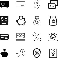 bank vector icon set such as: apps, invest, defend, protect, government, offer, restaurant, percent, city, apartment, promotion, buildings, home, shield, balance, human, percentage, exchange, hotel