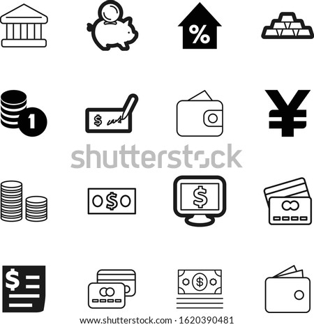 bank vector icon set such as: consumer, ingot, contour, bar, percent, budget, growth, beauty, rounded, technology, code, pictogram, chips, hold, percentage, gray, office, japan, feminine, atm