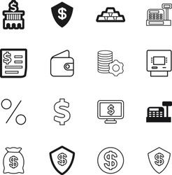 bank vector icon set such as: saving, decoration, promotion, gold, debt, bill, america, service, mobile, display, electronic, art, icons, logistic, wallet, amount, rounded, funds, web, monitor