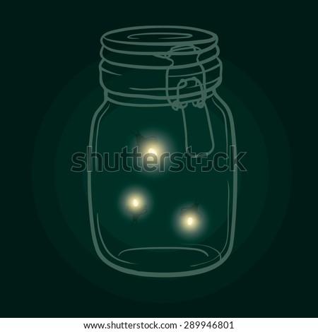 bank with fireflies vector