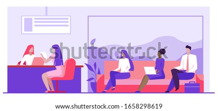 Bank worker providing service to customers. People in bank office sitting in line flat vector illustration. Banking services, customer support concept for banner, website design or landing web page