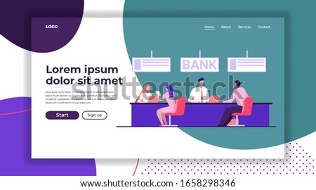 Bank workers providing service to clients. Customers consulting credit managers flat vector illustration. Banking, loan, office, finance concept for banner, website design or landing web page
